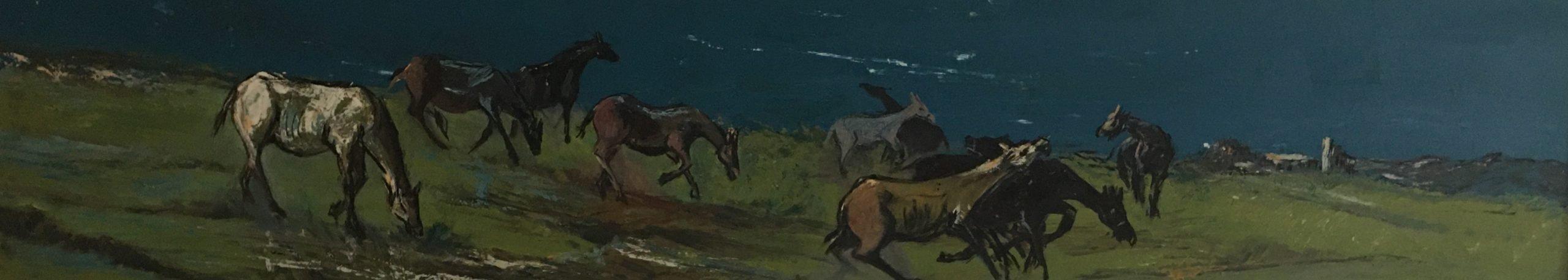 "Epifanio Irizarry: Caballos (undated)Oil on canvas 58"" x 11"""