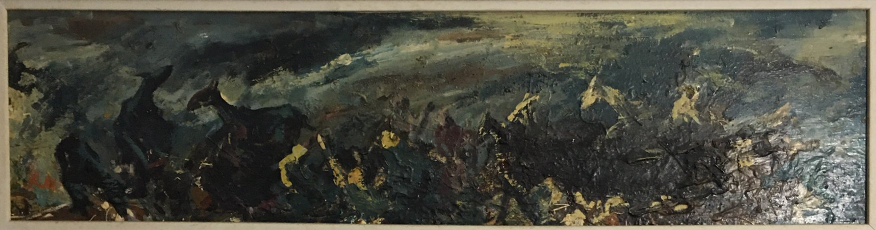 "Epifanio Irizarry: Stampede (undated)Oil on canvas 36"" x 11"""