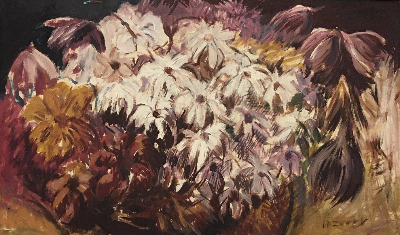 "Epifanio Irizarry: Flowers (undated)Oil on canvas 26"" x 15"""