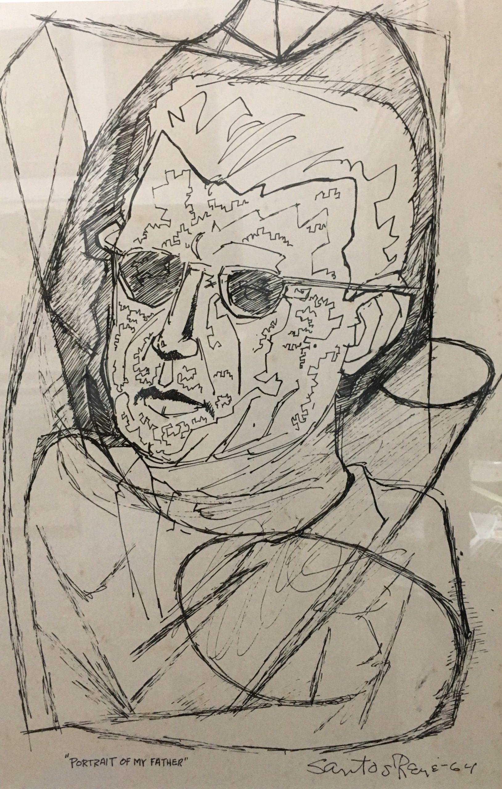 """Santos René Irizarry: Portrait of My Father (1964)Ink on paper 14"""" x 21"""""""