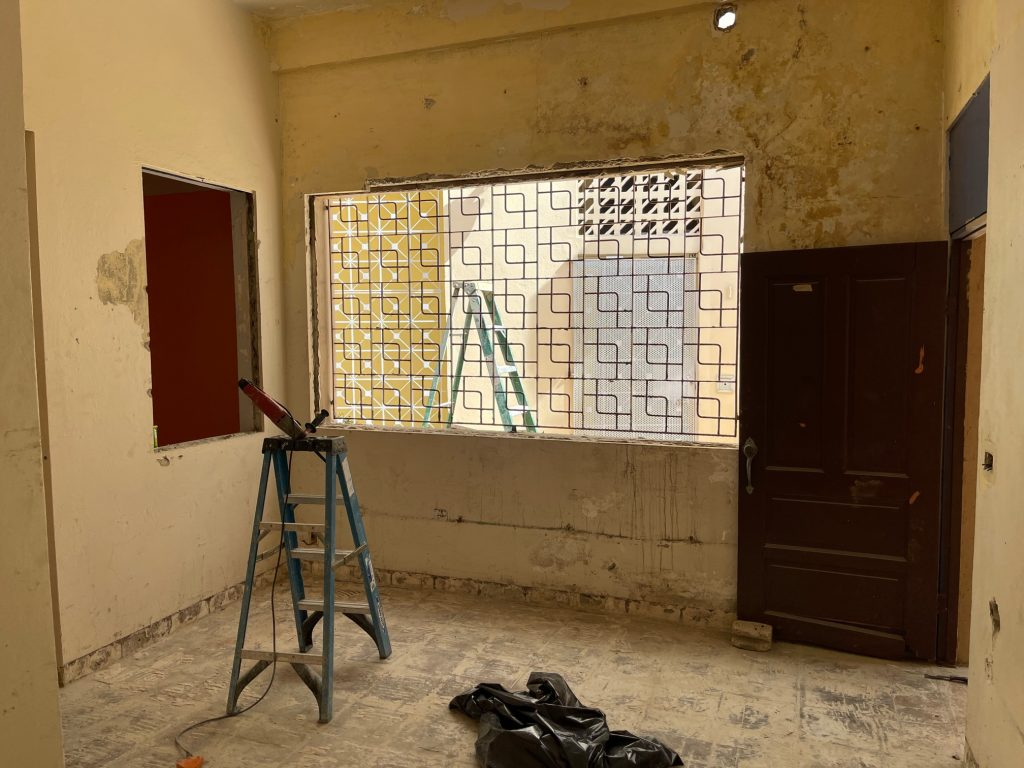 1/19/21: Windows at cafe area - not sure if we will retain windows or create wall for display.